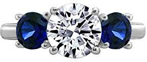 Swarovski La Lumiere Platinum-Plated Sterling Silver Zirconia Round-Cut Center Stone and Created Sapphire Ring, Size N1/2