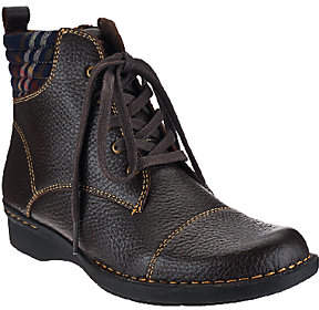 Clarks Leather Ankle Boots with Flannel Detail