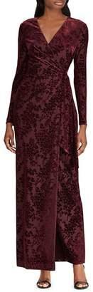Ralph Lauren Flocked Faux-Wrap Gown - 100% Exclusive