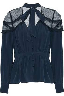 Cinq à Sept Peyton Pussy-Bow Point D'esprit-Paneled Silk Blouse