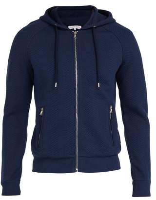 Orlebar Brown Brayfield Chevron Knit Cotton Hooded Sweater - Mens - Navy