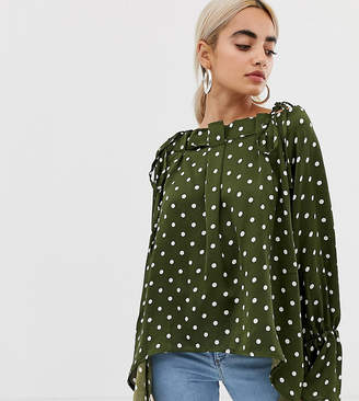 Lost Ink Petite Smock Top With High Low Hem In Polka Dot