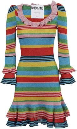 Moschino Striped Detail Ruffled Dress