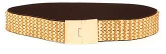 Miu Miu Scale Leather And Metal Belt - Womens - Gold