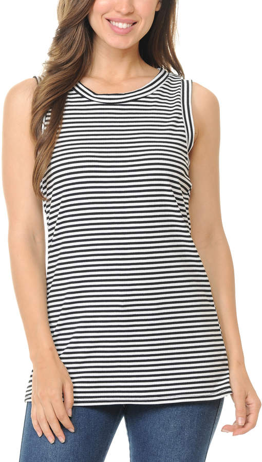 Black & Ivory Stripe Tank - Women