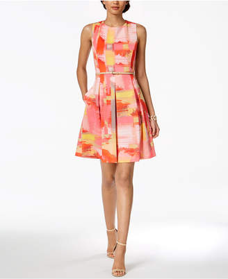 Ellen Tracy Petite Belted Fit & Flare Dress