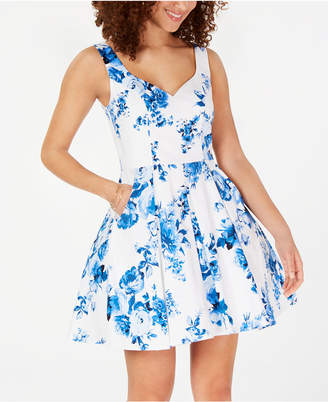 a6de2ef14 Trixxi Juniors' Floral-Print Fit & Flare Dress