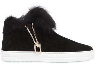 Roger Vivier 20mm Suede & Fur High Top Sneakers