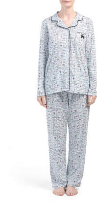 Jersey Long Sleeve Notch Collar Pajama Top With Pants