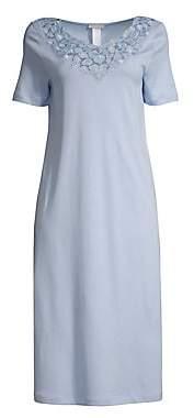 Hanro Women's Aurelia Embroidered Short-Sleeve Sleep Gown