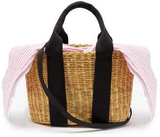 Muun Caba mini striped-canvas and woven-straw bag