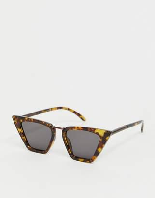 Cat Eye Asos Design ASOS DESIGN sunglasses in tort with metal nose bridge