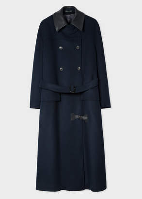 Paul Smith Women's Navy Oversized Wool-Blend Mac With Leather Collar
