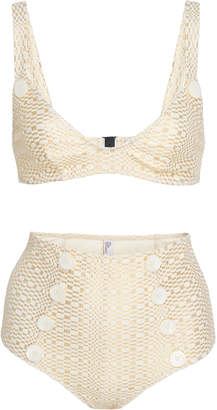 Lisa Marie Fernandez Magdalena Button-Detailed High-Waisted Bikini Siz