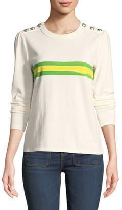 Veronica Beard Pouf-Sleeve Striped Crewneck Button-Shoulder Tee