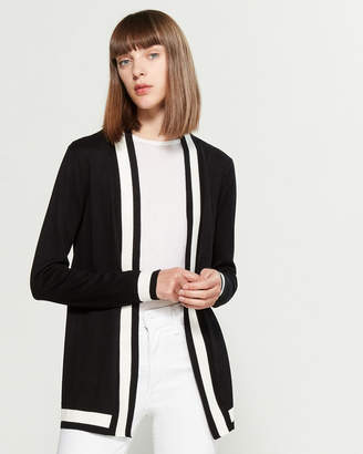 Cable & Gauge Striped Trim Open Cardigan