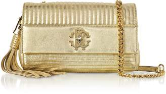 Roberto Cavalli Platinum Gold Laminated Quilted Nappa Leather Small Shoulder Bag