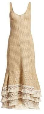 3.1 Phillip Lim Women's Crochet-Knit Fringe Trim Dress - Natural - Size 4