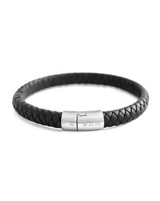 Tateossian Cobra Men's Braided Leather Bracelet, Black