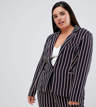 Unique21 Hero Unique 21 Hero striped tailored single button blazer
