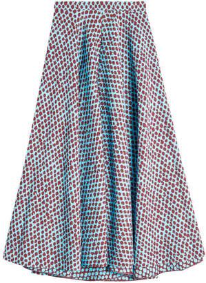 DELPOZO Printed Midi Skirt with Silk