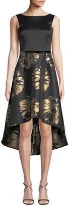 Donna Ricco Floral-Taffeta High-Low Cocktail Dress