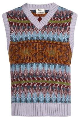 Acne Studios - Fair Isle Knit Sleeveless Sweater - Mens - Purple