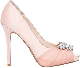 Le Château Women's Jewel Embellished Satin Peep Toe Pump