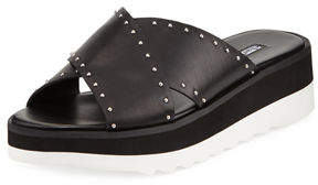 Charles David Buxom Studded Leather Sport Slide Sandals