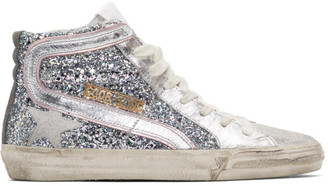 Golden Goose Silver and Pink Glitter Slide Sneakers