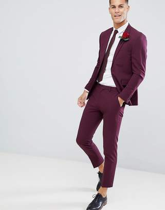 Burton Menswear muscle fit suit pants in burgundy