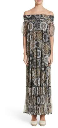 Fuzzi Print Tulle Off the Shoulder Maxi Dress