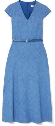Max Mara Caramba Silk, Linen And Wool-blend Midi Dress - Blue