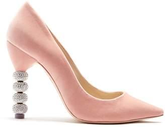 Sophia Webster Coco crystal embellished-heel velvet pumps