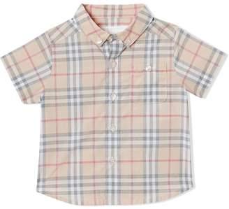 Burberry Button-down Collar Short-sleeve Check Cotton Shirt