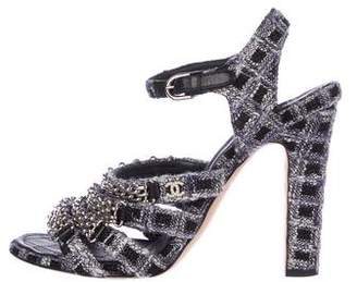 Chanel CC Chain-Link Tweed Sandals
