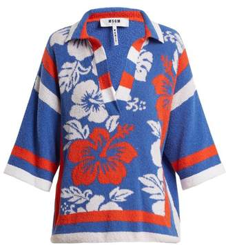 MSGM Hawaiian Print Terry Towelling Top - Womens - Blue Multi