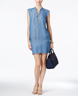 MICHAEL Michael Kors Chambray Lace-Up Shirtdress $140 thestylecure.com