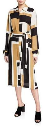 Lafayette 148 New York Mona Graphic Block Drape Cloth Button-Front Shirtdress