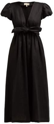 Mara Hoffman Savannah Puff Sleeve Hemp Midi Dress - Womens - Black