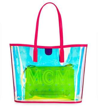 MCM Luccent Medium See-Through Neon Shoulder Tote Bag