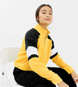 New Look colourblock polar fleece in yellow