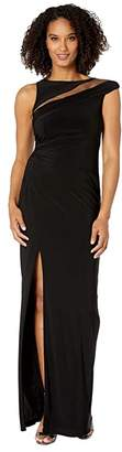 Adrianna Papell Boat Neck Illusion Mesh Column Jersey Gown