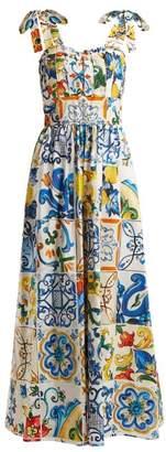 Dolce & Gabbana Majolica Print Cotton Poplin Jumpsuit - Womens - White Print