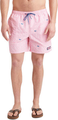 Vineyard Vines Printed Gingham With Whale Embroidered Chappy Trunks