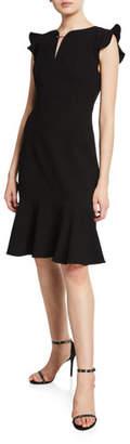 Elie Tahari Lucy V-Neck Ruffle Cap-Sleeve Dress