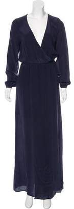 Anine Bing Long Sleeve Silk Maxi Dress