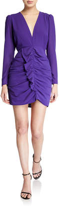Astr Long-Sleeve Ruffle Ruched Dress