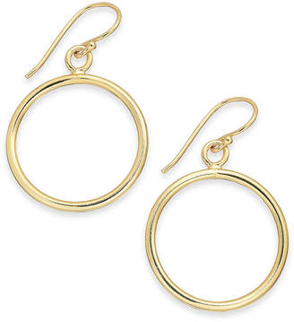 Essentials Medium Gold-Plated Polished Circle Drop Earrings