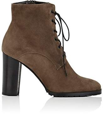 Barneys New York WOMEN'S LUG-SOLE SUEDE ANKLE BOOTS - GRAY SIZE 9.5